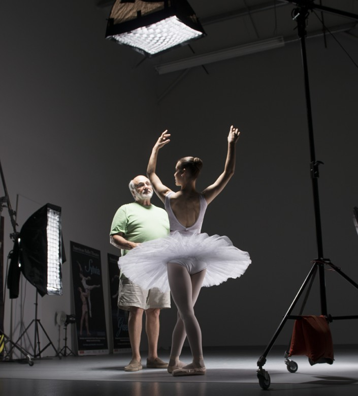 Gene and dancer choreograph the perfect shot in private ballet photo sessions.