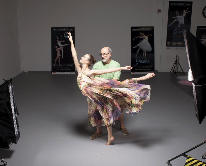 Gene and the dancer work together in private ballet photography sessions to find the perfect position for the shot.